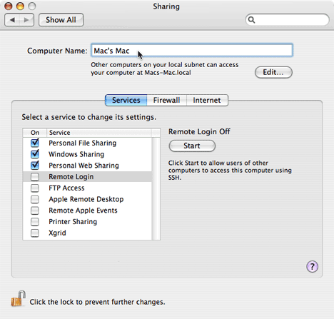 Sharing pane of System Preferences
