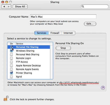 Sharing pane in System Preferences.