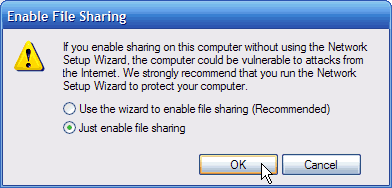 A pop-up warning about sharing files manually